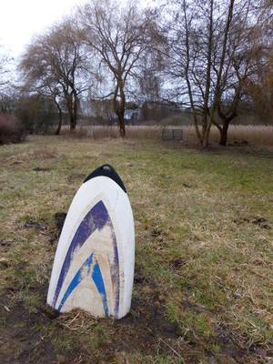 Spitze von Surfbrett ragt aus Wiese