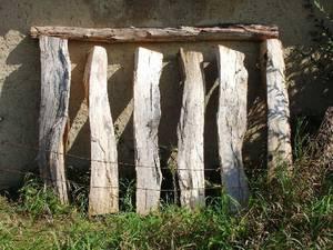 Sechs Eichenbalken an Hauswand gelehnt, darauf Querbalken liegend