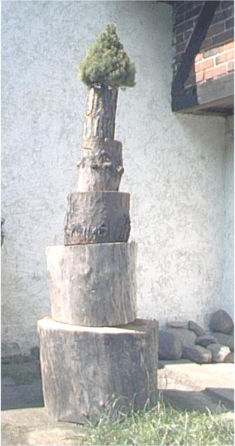 Installation: Wachstum. 2004, Sophiendorf, 0,50 x 0,50 x 2 m, Holzabschnitte, Thuja. Manches wird einen Kopf kürzer